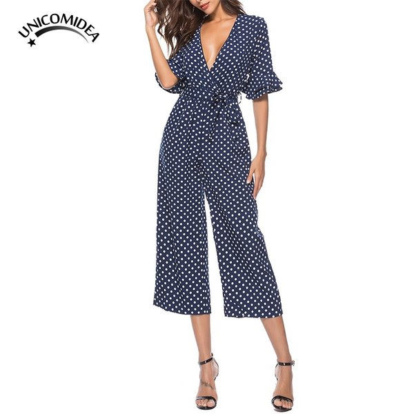 Flare Sleeve Cute Polka Dot Jumpsuit V Neck Half Sleeve Sexy Jumpsuit Boho Rompers Playsuits Vintage Women Fashion Casual Pants