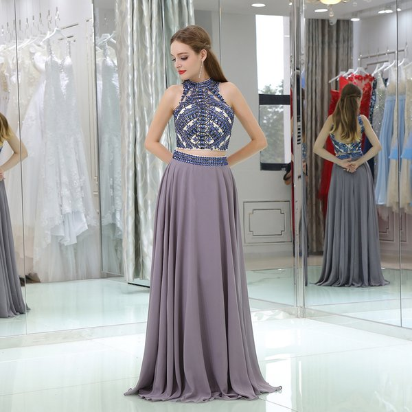 LD38345 Sexy Party Dress Evening Dresses Two Pieces Nail Bead Prom Gown Robe De Soiree Formal Special Occasion Gowns Wedding Dresses