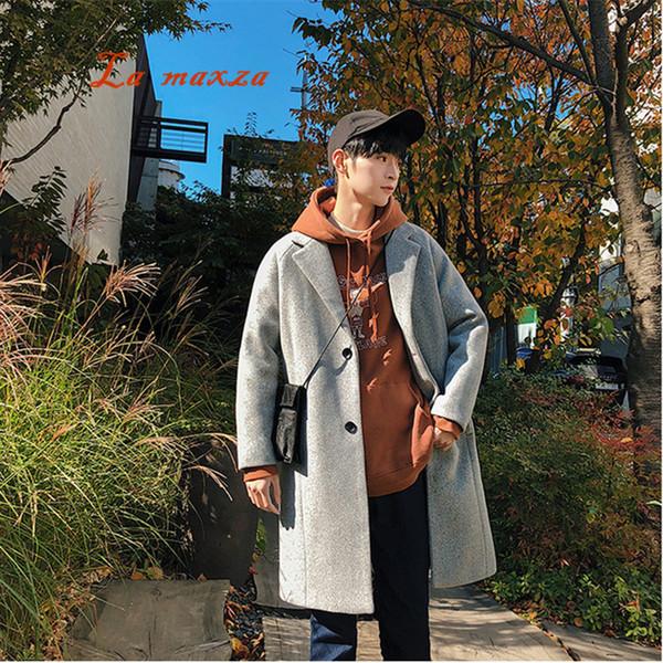 Artı Boyutu 2018 Erkek Kore Tarzı Rahat Kış Sıcak Gevşek Palto Erkek Ceket Cepler Erkekler Yün Uzun Coat