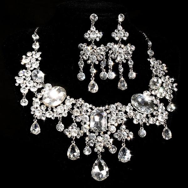 Moda gelin takı setleri büyük cam kolye çiçek küpe 2 parça mücevher high-end düğün aksesuarları
