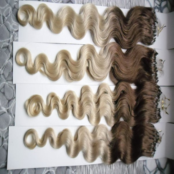 7A Brazilian Virgin Remy Hair body wave 400g 40s T2/613 Micro Loop Hair Extensions Ombre Hair Extension Micro Bead Links Machine Made