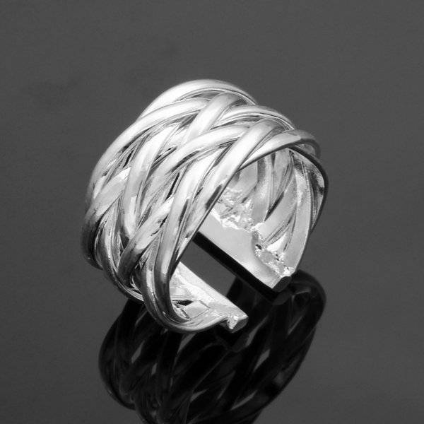 Fine 925 Sterling Silver Ring for Women Men,New Arrival XMAS Wholesale Fashion jewelry 925 Silver Net Cuff Ring 2018 Link Italy AR22