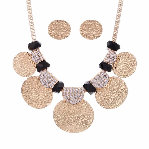 Hesíodo Dubai Color de Oro Conjunto de Joyas de Cristal Boda Nigeriana Cadena de Malla Nupcial Gargantilla Collar Collar Colgante de Metal Pendientes
