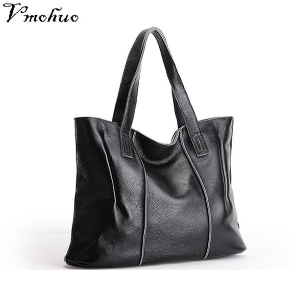VMOHUO 100% Genuine Leather Female Shoulder Bags New Style Women Handbag Ladies Black Tote Bag Large Capacity Shopping Bags