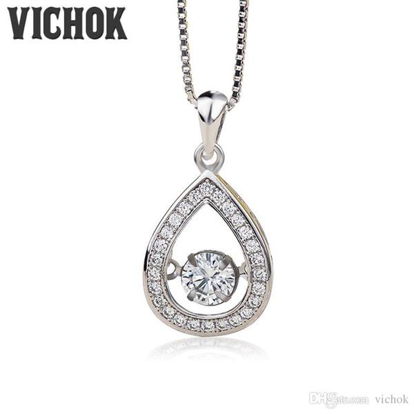 925 Sterling Silver Pendant&Necklace Water Drop Design Pendant Necklace For Women Lover Fine Jewelry Platinum Color Wholesale VICHOK