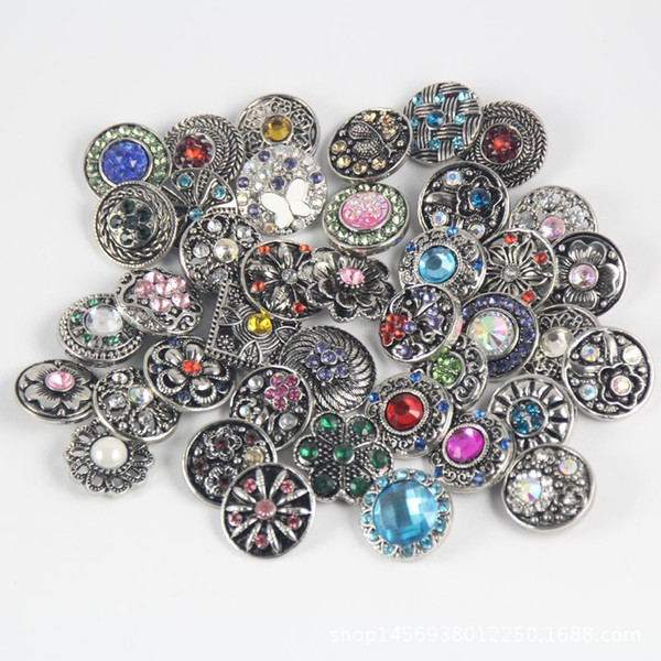 Wholesale Mixed Metal 18mm Snap Button Jewelry DIY Metal Rhinestone Button Charms For DIY Snaps Bracelet Jewelry