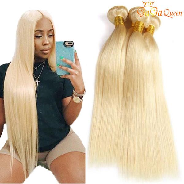 Gaga queen 613 paquetes de cabello lacio brasileño 613 paquetes de cabello humano rubio 100% extensiones de cabello 3 paquetes