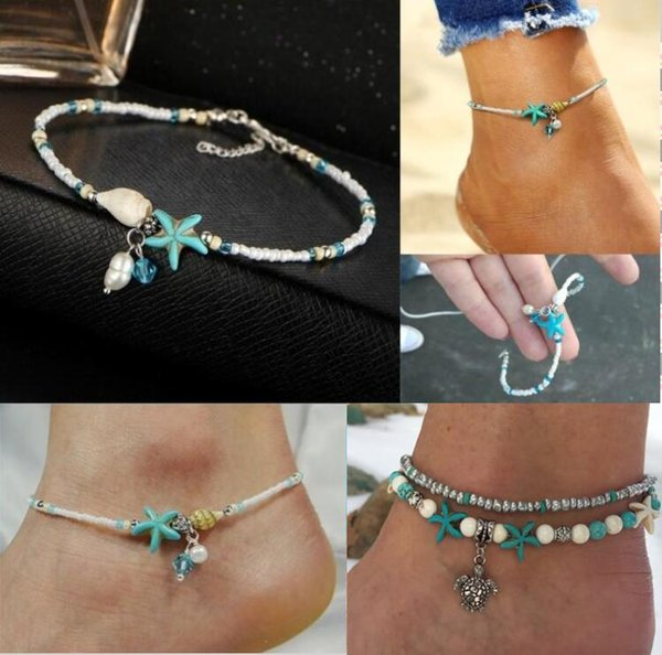 Starfish Shell Beach Foot Chain Conch Sandal Anklets Beads Bracelet Jewelry Gift