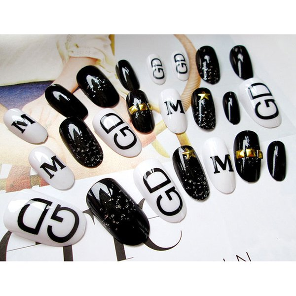 MYBORMULA 24 pcs/set Black and White Cool Pattern False Nail Fashion Style Artificial Fake Nail Tip Free Glue DIY Tool 2018 NEW
