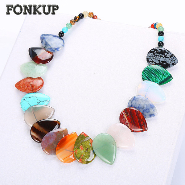 Forkup Water Drop Pendant Necklace Colorful Crystal Bead Chain Classic Women Jewellery Natural Leaf Ornaments Iridescent Prayer