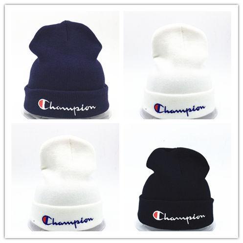f873479a8da Wholesale beanies Knitted Hat Designer Champion Winter Warm Thick Beanie  Fedora gorro Bonnet Skull Hats for Men women Crochet Skiing Cap