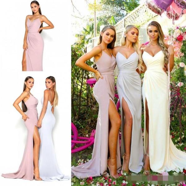 Compre Largos Vestidos De Dama De Honor De Jardín De Verano 2019 Correas De Espagueti Sin Espalda Sirena Dama De Honor Larga Damas De Honor Vestidos