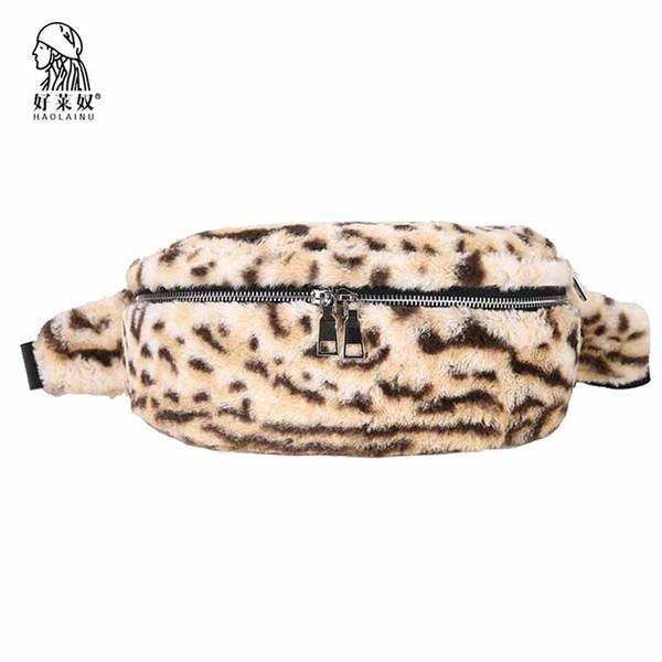 Mulheres Faux Fur Fanny Packs Estampa de leopardo Moda Sacos de Cintura Das Mulheres Casuais Meninas Cinto de Pelúcia Packs Bolsa Bolsas Bolsas Femme