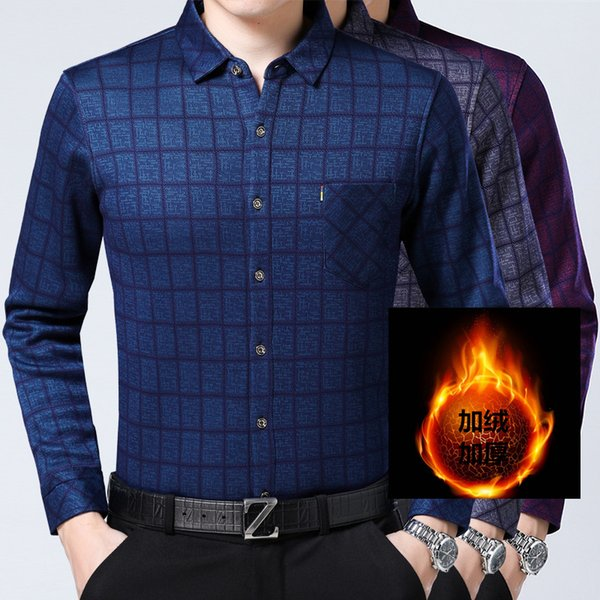 Mens Fleece Shirts Plaid Mens Shirts Long Sleeve Casual Purple Camisa Hombre Navidad Slim Fit Business 2019 Winter Velvet Dress