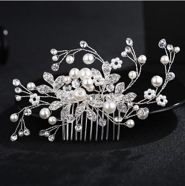 Gorgeous Handmade Crystals Rhinestones Pearls Wedding Jewelry Hair Comb Bridal Headpieces Women's Wedding Hair Accessories Bridesmaids