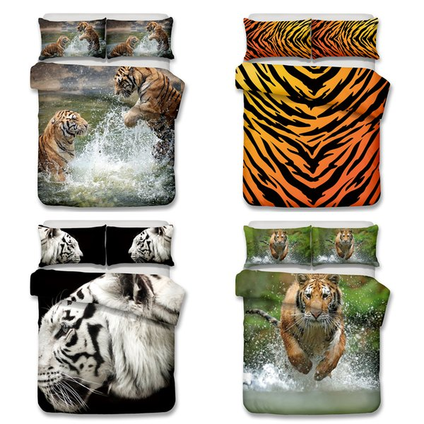 3D Tiger and Lion Pattern Bedding Set Twin Full Queen King Size Pillow Case Quilt Cover Duvet Cover