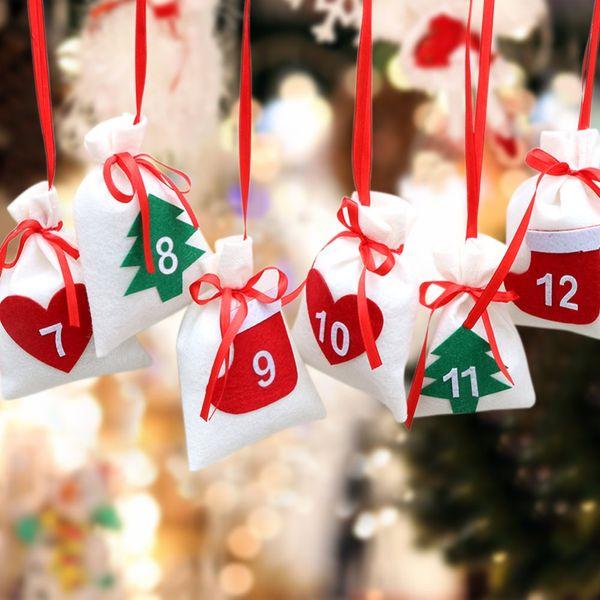 OurWarm Fabric 31pcs 11x16cm Hanging Christmas Advent Calendar Sacchetti regalo Garland Capodanno 2019 DIY Christmas Countdown