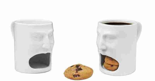 Tazas de leche de cerámica con soporte para galletas Galletas Dunk Tazas de café Almacenamiento para el postre Regalos de Navidad Galletas de cerámica Taza de bolsillos