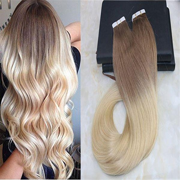 Colla per capelli Ombre Extension Nastro su capelli brasiliani di Remy Dissolvenza Colore Castano chiaro # 6 per Bleach Blonde # 613 Dip Tintura Colorazione Trama
