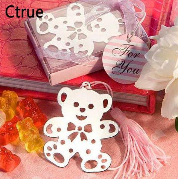 10 unids Lindo Oso de Plata Bookmark Para Cumpleaños nupcial Baby Shower Bautizo Regalo de Boda Favor de Partido baby shower souvenir