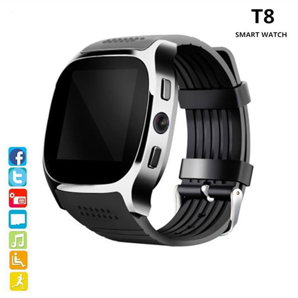 Bluetooth T8 Smart Watch With Camera Bluetooth WristWatch For IOS Android Men Momen Smartwatch VS X6 U8 V8 DZ09 GT08