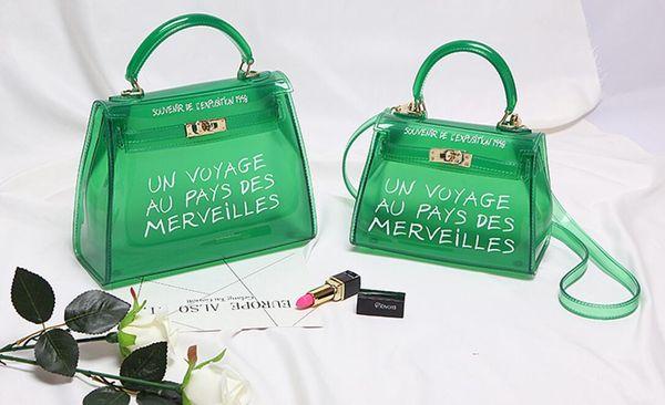 Laser messenger bags candy women fashion jelly Transparent handbag Plastic shoulder bags hasp Lock Chains handbags holographic