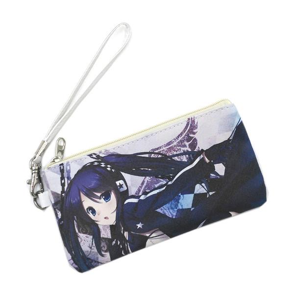 Leather Zipper Bag of Anime BLACK ROCK SHOOTER Fashion Makeup Bag Student Pen Holder Handbag for Gift Storage bag