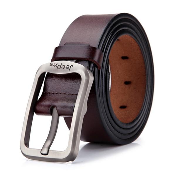 JEEPKING Men belts Strap Male Genuine Leather Fashion pin Buckle Men's Belt leather belts for men high quality Male Belt Man NO1