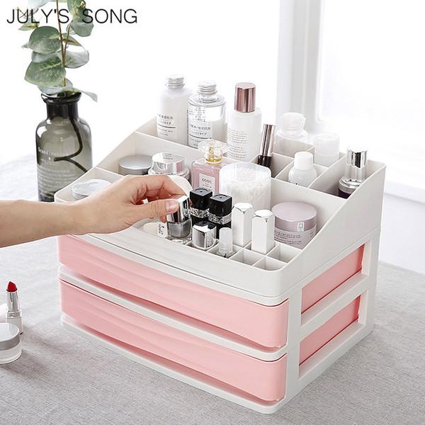 JULHO'S SONG Plástico Cosméticos Gaveta Organizador de Maquiagem Caixa De Armazenamento De Maquiagem Recipiente Titular Caixão De Armazenamento De Desktop De Diversão Caso