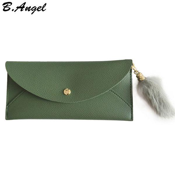 Women envelope wallet with hairy pendant girls ladies long design hasp wallet women leather wallet coin purse hot clutch purse