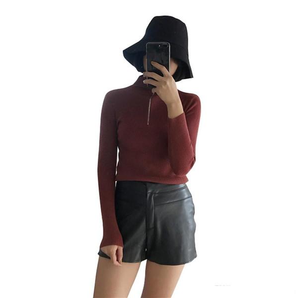 Compre Sólido Cremallera Otoño Invierno De Punto Suéter De Las ...