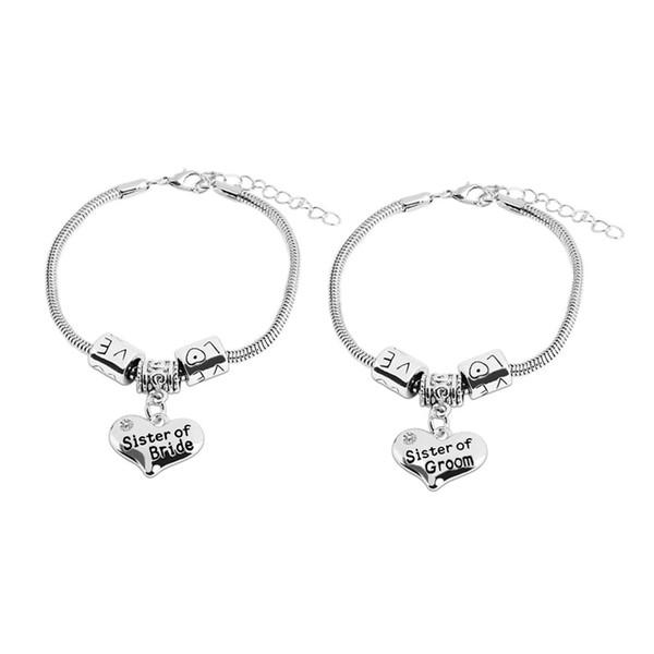 Art und Weise neue Ankunfts-Frauen-Schwester von BrideGroom Silber-Charme-justierbares Armband-Geschenk ForJewelry Wholesale freies Verschiffen