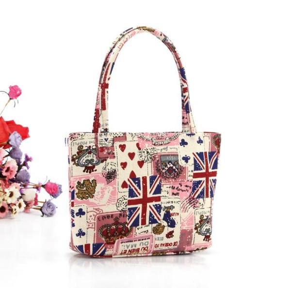 Owl cosmetic zipper bag England Usa national flag tote bag Canvas beach bag Cartoon storage wash bags travel organizer bags
