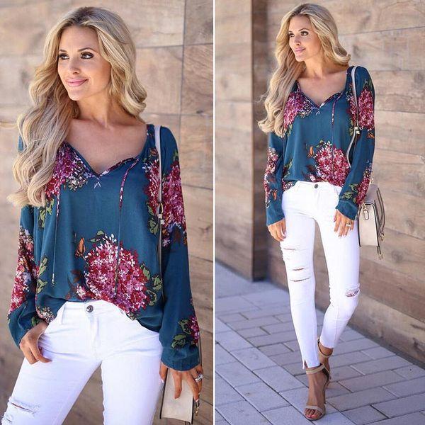 Autumn Casual Shirt Women Clothes Streetwear Fashion Print Drawstring V-Neck Long Sleeve Sexy Ladies Tops Vetement Femme 2018