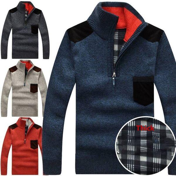 Mode Männer Pullover stricken Pullover Winter Männer Kragen Gebürstet Thicked Pullover Strickmantel Männer Freizeitkleidung Tops Plus Größe XXXL Oberbekleidung