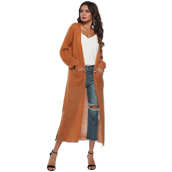 2018 automne nouvelles femmes longues en tricot de coton robe longue dame ouverte plus épais grande poche boho style chandail XXL
