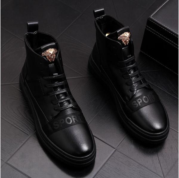Bottes Martin en cuir pour hommes, mode coréenne, bottes courtes bottes décontractées, chaussures montantes ..