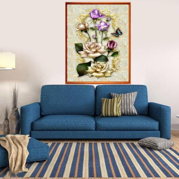 Jade Rose Flower Full Square Diamante Rotondo Pittura 5D FAI DA TE Diamante Ricamato A Punto Croce Strass Mosaico Decorazione Immagine Regalo