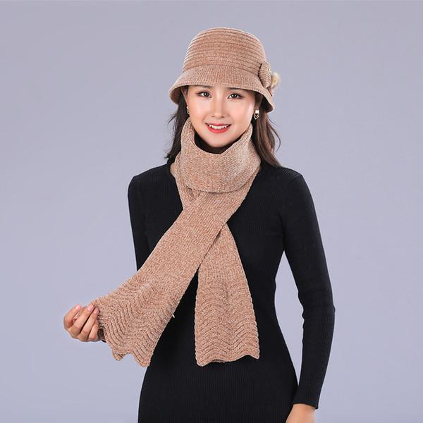 PADEGAO Autumn and winter elder women hat rabbit fur knitted beanies thickening scarf cap set