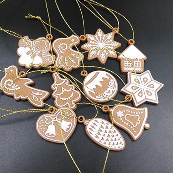 11Pcs Polymer Clay Deer Snowman Doll Chrismas Tree Decorations Pendant Navidad Ornaments New Year Christmas Decorations For Home Y18102909