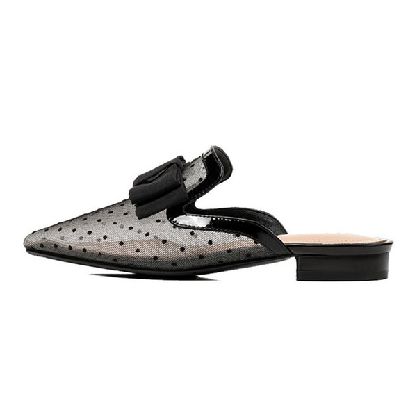 Size 33-43 real leather Women Flats Shoes Polka Dot Bowknot Sandals Sexy Party Wedding Shoes Women Concise Footwear