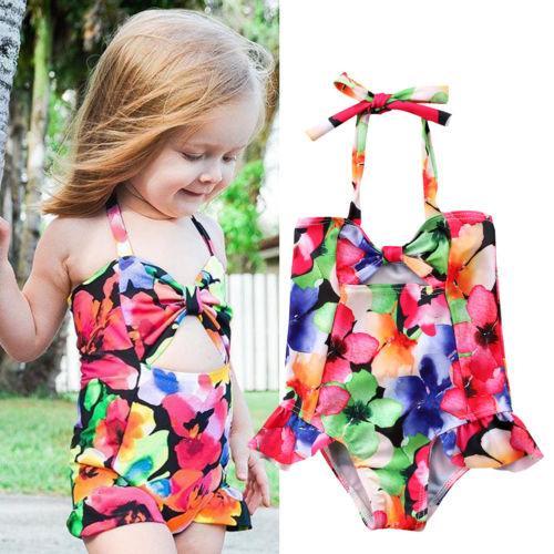 Summer Kids Baby Girls Bowknot Floral One-piece Swimwear Swimsuit Bathing Suit Beachwear Children Bikinis Swimming Dress Kid Boutique
