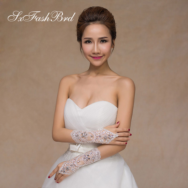 New Arrival Fashion Fingerless Length Opera Appliques Bridal Gloves With Crystals Bridal Wedding Gloves For Bride