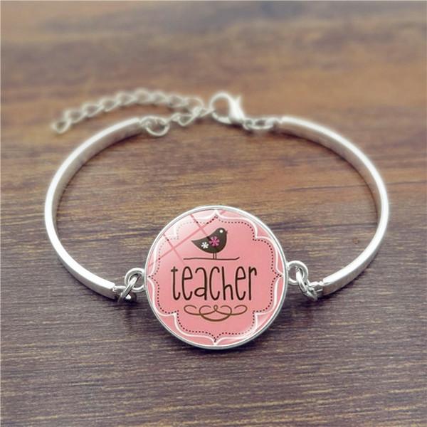 Öğretmen kadınlar için Bilezikler Renk Metal Charm Takı öğretmenin hediyeler için El Yapımı Alaşım bilezik Öğretmenler Günü hediye 2018