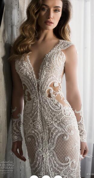 2019 luxury wedding dress high-end Gorgeous wedding dresssA lineSoft gauze, passion elegant, embroidery handmade069