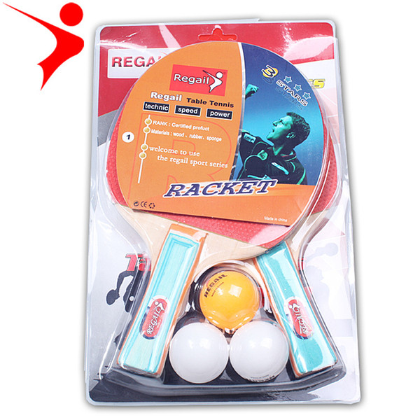 2pcs caoutchouc brut de haute qualité avec double face dans la formation de raquette de divertissement avec deux étudiants en plastique balles sont disponibles