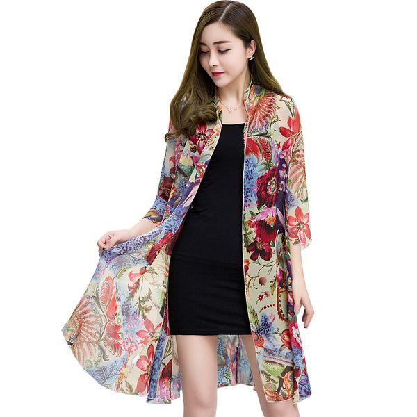 Кимоно лето женщины топы 2018 Мода с длинным рукавом два набора женские топы и блузки цветочный принт повседневная рубашки женщины плюс размер