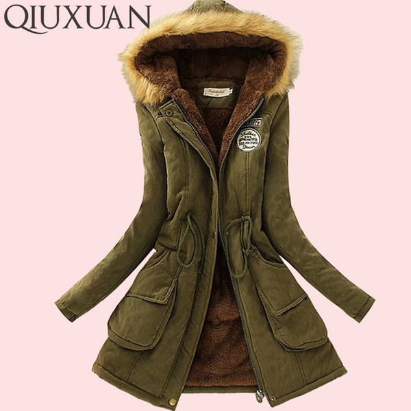 2019 QIUXUAN Women Parka Fashion Autumn Winter Warm Jackets Women Fur Collar Coats Long Parkas Hoodies Office Lady Cotton Plus Size