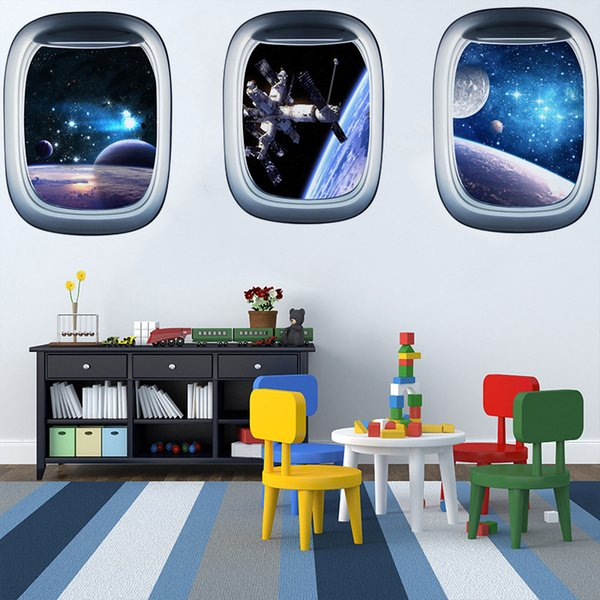 3D Waterproof Star Wall Stickers Planet Spaceship Fake Window Living Room Bedroom Decorative Painting 43*58cm