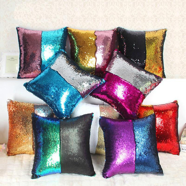 Magic 2 Colors Sequin Mermaid Throw Pillow Case Reversible Color Change Cushion Cover For Sofa Home Decorations Many Colors 10 8hm ZZ